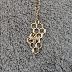 Honeycomb Bumble Bee Necklace NWOT